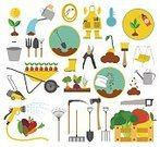 Gardening,Wheelbarrow,Equipment,Agriculture,Rake,Farm,Vegetable,Collection,Growth,Vegetable Garden,Seed,Fruit,Watering Can,Shovel,Formal Garden,Computer Icon,Flower Pot,Work Tool,Set,Illustration