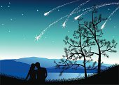 Star Trail,Comet,Couple,Star - Space,Romance,Silhouette,Love,Star Shape,Night,Mountain,Non-Urban Scene,Looking,Embracing,Backgrounds,Dating,Contemplation,Flirting,Sky,Nature Backgrounds,Vector Backgrounds,Landscapes,Nature,Illustrations And Vector Art,Blue
