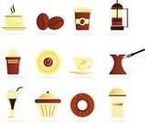 Coffee Bean,Cake,Coffee - Drink,Coffee Cup,Symbol,Cream,Donut,Turkish Coffee,Iced Coffee,Design,Sugar,Ilustration,Vector,Computer Graphic,Food And Drink,Drink,Espresso,Hot Drink,No People