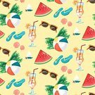 Summer,Fruit,Fun,Shoe,Illustration,Tossing,Life,Failure,Seamless,Vector,Yellow,Sunglasses,Slipper,Watermelon,Set,Relaxation,Drink,Season,Repetition,Slice,Vacations,Flat,Abstract,Pattern,Art,Multi Colored,Design,Cocktail,Beach,Backgrounds,Enjoyment