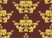 Baroque Style,Wallpaper Pattern,Seamless,1940-1980 Retro-Styled Imagery,Retro Revival,Style,Brown,Design Element,Classic,Pattern,Design,Decoration,Floral Pattern,Backgrounds,Elegance,Leaf,Computer Graphic,Ilustration,Vector,No People,Gold Colored