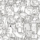 Animal,Doodle,Pattern,Coloring,Backgrounds,Seamless,Illustration,Cute,Textile,Human Face,Domestic Cat,Ink,Creativity,Ornate,Fun,Mammal,Vector,Pets,Shape,Abstract,Kitten,Decoration,Drawing - Activity,Computer Graphic