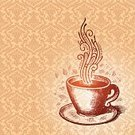 Coffee - Drink,Cafe,Coffee Cup,Tea - Hot Drink,Cup,Old-fashioned,Steam,Vector,Drawing - Art Product,Backgrounds,Pattern,Coffee Bean,Sketch,Mug,Design,Ilustration,Drink,Paintings,Art,Heat - Temperature,Swirl,Ornate,Espresso,Cappuccino,Scroll Shape,Brown,Decoration,Curve,Wallpaper Pattern,Caffeine,Drinks,Pencil Drawing,Mocha,Objects/Equipment,Food And Drink,Saucer,Decor,hand drawn,Illustrations And Vector Art
