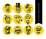Cool,Yellow,Sunglasses,Tie,glassess,mister,Hipster,Fedora,Men,Mustache,hand drawn,Hat,Beard