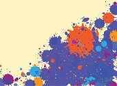 Blue,Frame,Bright,Grunge,Blob,Backgrounds,Watercolor Painting,Vector,Backdrop,Abstract,Inkblot,Stained,Textured Effect,Vibrant Color,watercolor background,Splattered,spatter,Messy,Orange Color,Paint,Horizontal