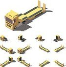 lowboy,268360,Lowbed,Container,Tractor,Industry,Lifestyles,Transportation,Land Vehicle,Cargo Container,Commercial Land Vehicle,Car,Tire,Exercising,Exercise Machine,Semi-Truck,Illustration,Freight Transportation,Trucking,Vector,Agricultural Machinery,Collection,Truck,Infographic,Icon Set,Isometric Projection,Low-Poly-Modelling,Business Finance and Industry,Side View,Carrying,Yellow