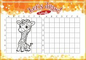 Computer Graphics,Animal,Cartoon,Illustration,Leisure Games,Image,Outline,Computer Graphic,Coloring Book,Education,Drawing - Activity,Giraffe,Vector,Grid,Spotted