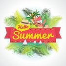 Invitation,Outdoors,Illustration,Vacations,Exploration,Heat - Temperature,Decoration,Nature,Coconut Palm Tree,Lifestyles,typographic,Vector,Hello,Island,summer holiday,Palm Tree,Postcard,Sea,Summer,Fun,Nautical Vessel,Beach,Backgrounds,Season