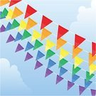 Traditional Festival,Flag,Pennant,Party - Social Event,Celebration,Backgrounds,Multi Colored,Sky,Red,Vector,Yellow,Orange Color,Green Color,Holiday,Blue,Ilustration,Holiday Backgrounds,Vector Backgrounds,Holidays And Celebrations,Purple,Cloud - Sky,Illustrations And Vector Art