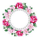 Square,Frame,No People,Wreath,Paint,Circle,Flower,Watercolor Painting,Blossom,Illustration,Picture Frame,Floral Pattern