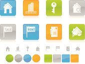 Real Estate,House,Symbol,Computer Icon,Interface Icons,Icon Set,Deed,Key,Elegance,Sale,Digitally Generated Image,Design,Vector,Document,Green Color,Orange Color,Skyscraper,Computer Graphic,Design Element,Multi Colored,Blue,Shiny,White Background,Gray