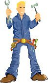 Mechanic,Craftsperson,Maintenance Engineer,Manual Worker,Tool Belt,Construction Worker,Auto Mechanic,Vector,Construction Equipment,Carpenter,Technician,Home Improvement,Repairing,Work Tool,Coveralls,Belt,Machinist,Expertise,Cartoon,Airplane Mechanic,Ilustration,Pipefitter,Occupation,Service,Blond Hair,Clip Art,Adjustable Wrench,Hello,Cap,Cheerful,Bib Overalls,Home Decorating,Characters,Blue,overhaul,Spanner,Boot,Assistance,Mason - Craftsperson,Greeting,Hammer,Restoring,Smiling,Wrench,Industrial Equipment,Spackling,Vector Cartoons,Screwdriver,Improvement,Objects/Equipment,Illustrations And Vector Art,Equipment