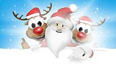 Cartoon,Pointing To,happy smile,Laughing,Thumbs Up,Copy Space,Blank,Christmas,Reindeer,Three-dimensional Shape,Sky,Snow,Santa Claus
