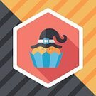 Celebration,Cute,,Baked Pastry Item,Illustration,October,Food,Autumn,Bakery,Trick Or Treat,Cupcake,Halloween,Dessert,Baking,Cake,Vector,Party - Social Event,Hat