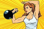Women,Weightlifting,Cartoon,Sport,Exercising,Girls,Adult,Beauty,Iron - Appliance,Bicep,Painted Image,Pop Art,Halftone Pattern,Hip,Success,Humor,Leadership,Concepts,Weight,Vector,Strength,1940-1980 Retro-Styled Imagery,Athlete,Body,Healthy Lifestyle,Illustration,Kettle Bell,Gymnastics,Health Club,Spotted,Energy,Comic Book,Human Muscle,Retro Styled,Modern,People,Ideas,Style,Pop Musician,Power,Backgrounds