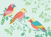 Animal,Wildlife,Blue,Cute,Nature,Multi Colored,Biology,Computer Graphic,Red,Branch,Bird,Tree,Child,Bird Watching,Africa,Winter,Parrot,Leaf,Yellow,Beak,Vector,Illustration,Backgrounds