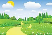 Freshness,No People,Sun,Environment,Nature,Road,Outdoors,Plant,Flower,Tree,Uncultivated,Land,Leaf,Season,Sun,Cloud - Sky,Springtime,Summer,Landscape,Lawn,Field,Day,Meadow,Pasture,Backgrounds,Scenics,Art And Craft,Art,Grass,Chamomile,Illustration,Cartoon,Cloudscape,Non-Urban Scene,Vector,Chamomile Plant,Chamomile,Green Color