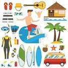 Water Sport,Beach,Vector,Computer Icon,Sport,Sea,Travel Destinations,Surfboard,Vacations,Shaka Sign,Car,Cocktail,Wetsuit,wave riding,Beach Activity,Surfing,Snorkel,House,Isolated,Bus,Cartoon,Personal Accessory,beach activities,Travel,Time,Illustration,Tropical Climate,surfgear,Set,Idyllic,Equipment,Collection,Swimwear,Tourism,Snorkeling,Journey,Palm Tree,water activities,Men,Bungalow,Summer,Camera - Photographic Equipment,Flat Design,Gear