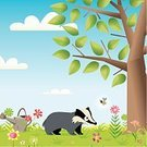 Badger,Animal,Insect,Meadow,Farm,Skunk,Flower,Nature,Bee,Tree,Field,Watering Can,Animal Themes,Springtime,Wasp,Outdoors,Meeting,Old,Tranquil Scene,Obsolete,Plant,blue sky,Outdoor Scene,Formal Garden,Encouter,Overgrown,Gardening,Wildlife