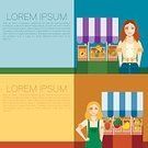 Cartoon,Lifestyles,Business,Supermarket,Vegetable,Females,Backgrounds,Banner,Young Adult,Flat,Shopping,Freshness,People,Adult,Vegetarian Food,Agriculture,Placard,Women,Vector,Fruit,Organic,Illustration,Food,Market