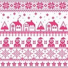 Snowflake,Christmas Tree,Seamless,Gift,Star Shape,Town,House,Pink Color,Santa Claus,Pattern,Christmas,Backgrounds