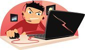 Computer Hacker,Computer Software,Computer Mouse,Hands-free Device,Playing,Laptop,Cartoon,Teenage Boys,Headphones,Microphone,Communications Technology,Vector Cartoons,Technology,Computers,Internet,Ilustration,Headset,Communication,Illustrations And Vector Art