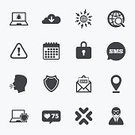 Security,Magnifying Glass,Mail,Speech,Sign,Crime,Cyborg,Telephone,Illustration,Symbol,Internet,Computer Crime,Burglary,Technology,Laptop,Computer Hacker,Communication,Text Messaging,Wireless Technology,Calendar,Large,Large,Vector,Computer