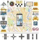 Map,Infographic,Transportation,Illustration,Sign,Car,Traffic,Customer Service Representative,Symbol,Computer Icon,Land Vehicle,Telephone,Walkie-talkie,Global Positioning System,People,Service,Passenger,Taxi