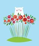 Flower,Animal,Bear,Mammal,Poster,Isolated,Decoration,Fun,Joy,Cheerful,Plant,Abstract,Leaf,Rose - Flower,Cartoon,Summer,Happiness,Simplicity,Illustration,Polar Bear,Arctic,Greeting Card,Vector,Blossoming,Image,Computer Graphic,North,Season,Design,Nature,Cute,Characters,Springtime,Blossom