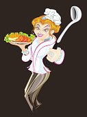 Cartoon,Hat,People,Tomato,Skirt,Carrot,Corn,Lettuce,Kitchen Utensil,Ladle,Salad,Crockery,Working,Cooking,Women