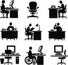 Desk,Symbol,Office Interior,People,Computer,Working,Men,Religious Icon,Occupation,One Person,Chair,Business,Vector,Disabled,Desktop PC,Physical Impairment,Telephone,White Collar Worker,Receptionist,Wheelchair,Black Color,Job - Religious Figure,Operator,Employment Issues,task,Reading,Studying,Industry,Sales Clerk,Customer Service Representative,Clip Art,Switchboard Operator,Electric Lamp,Black And White,Ilustration,Female,Computer Monitor,People,Vector Icons,Illustrations And Vector Art