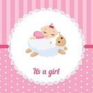 Non-Urban Scene,Baby,Holiday,New,One Person,Celebration,Greeting Card,Birthday,Invitation,Surprise,Newborn,Life,Relaxation,Comfortable,Baby Girls,Party - Social Event,Toddler,Text,Message,Greeting,Sheep,Small,Cartoon,Gift,Happiness,Characters,Enjoyment,Backgrounds,Joy,New Life,Child,Sleeping,Family,Dreamlike,Pink Color,Event,Angel,Postcard,Label,Congratulating