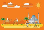 Child,Adult,70863,Men,People,Activity,Nature,Road,Sport,Outdoors,Recreational Pursuit,Cycling,Bicycle,Mosque,Camel,Summer,Desert,Illustration,Relaxation Exercise,Sports Helmet,Travel,Riding,Work Helmet,Headwear,Backpack