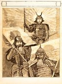 Samurai,Warrior,Japanese Culture,Sword,Japanese Flag,Japan,Woodcut,Three People,Engraved Image,Ilustration,Leadership,Print,Armed Forces,Riot,Old,Conflict,Drawing - Art Product,Military,Painted Image,History,Korea,Revolution,Antique,Battle,18th Century Style,South Korea,Illustrations And Vector Art,People,Leading,Image Created 18th Century,Pencil Drawing,Military Uniform,Social History,War,Steel Engraving,Historical Clothing,Uniform