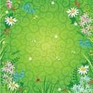 Ladybug,Backgrounds,Flower,Meadow,Daisy,Frame,Summer,Springtime,Floral Pattern,Green Color,Butterfly - Insect,Bluebell,Vector,Grass,Outdoors,Swirl,Wildflower,Insect,Abstract,Computer Graphic,Chamomile Plant,Ilustration,Scroll Shape,Uncultivated,Nature,Illustrations And Vector Art,Nature