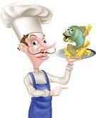 Men,Cod,Plate,Restaurant,Chef,Cooking,Seafood,Isolated,Sea Bass,Freshwater Bass,One Person,Holding,Mascot,Serving Food and Drinks,Serving Size,Uniform,Illustration,Cap,Upper Class,Prepared Potato,Tray,Gourmet,Food,White Background,Prepared Fish,Cod,Vector,Hat,Fish,Cartoon,Food Service Occupation,Food And Drink Industry,Characters,Pointing,People,Fish and Chips,Drawing - Art Product,Mustache,Service,Serving,Dining,Kitchen,Snob,Clip Art,French Culture,French Fries