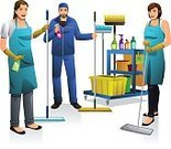 People,Cleaner,Clip Art,Drawing - Art Product,Modern,Vector,Illustration,Occupation,Cartoon,Manual Worker,White Background,Team,Housework,Service,Smiling,Females,Isolated,Dust,Happiness,Expertise,Professional Occupation,Working,Teamwork,Women,Men,Young Adult,Adult,Lifestyles,Males