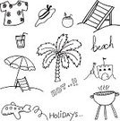 Collection,Season,Beach,Relaxation,Bag,Sea,Suitcase,Joy,Illustration,Summer,Doodle,Drawing - Activity,Cocktail,Vector