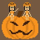 Women,Teenage Girls,Cartoon,Cute,Costume,Pumpkin,Halloween,Art,Flat,Computer Graphic,Illustration,Pixelated