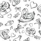 Doodle,Gift,Party - Social Event,Married,Cute,Invitation,Decoration,Romance,Event,Swirl,Cupcake,Holiday,Wedding Ring,Bride,Symbol,Wineglass,Women,Backgrounds,Illustration,Day,Love,Pattern,Vector,Valentine's Day - Holiday,Seamless,Collection,Celebration,Wedding,Arrow - Bow And Arrow