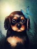 Vertical,Art,Domestic Animals,Animal,Painted Image,Sunlight,Cocker Spaniel,Art And Craft,Puppy,Butterfly - Insect,Illustration,Dog,Paintings,Portrait,Cartoon,Spaniel,Art Product,Brown