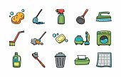 Equipment,Maid,Housework,Crockery,Multi Colored,Vector,Clothing,Collection,Cleaner,Plumber,Symbol,Garbage,Windshield Wiper,Sweeping,Squeegee,Service,Shiny,Sign,Illustration