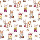 Humor,Childhood,Repetition,No People,Wallpaper,Toy,Animal,Animal Markings,Domestic Animals,Mammal,Rabbit - Animal,Carrot,Cute,Illustration,Toy Animal,Young Animal,Vector,Seamless Pattern,Pattern