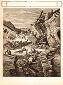 Earthquake,Natural Disaster,Engraved Image,Island,Disaster,Ilustration,Old,Turkey - Middle East,Woodcut,News Event,Ruined,Drawing - Art Product,Painted Image,Antique,Print,Falling,Nature,Death,History,Pencil Drawing,Sun Area,Terrified,18th Century Style,Steel Engraving,Image Created 18th Century,Danger,Illustrations And Vector Art