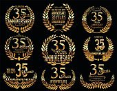 Anniversary,Banner,Sign,Memorial Event,Memorial Vigil,Laurel Wreath,Old-fashioned,Celebration,Placard,Old,Senior Adult,Congratulating,Number 35,Gold Colored,Illustration,Classic,Computer Icon,Symbol,Wreath,Badge,Banner - Sign,Simplicity,Happiness,Insignia,Decoration,Award Ribbon,Retro Styled,Old