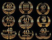 Decoration,Banner,Retro Styled,Old-fashioned,Symbol,Award Ribbon,Happiness,Gold Colored,Simplicity,Badge,Insignia,Number 40,Sign,Anniversary,Old,years,Wreath,Laurel Wreath,Placard,th,Illustration,Congratulating,Classic,Computer Icon,Celebration