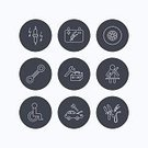 Invalid,Accumulator,Service,People,Sign,Transportation,Wheelchair,Differing Abilities,Repairing,Car,Circle,Tire,Wheel,Backgrounds,Straight,Battery,Outline,Toolbox,Illustration,Fastening,Vector,Wrench,Background,Service