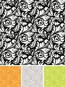 Floral Pattern,Seamless,Pattern,Swirl,Repetition,Black And White,Backgrounds,Orange Color,Decoration,Leaf,Green Color,Vector Florals,Vector Backgrounds,Wallpaper Patern,Ilustration,Vector,seamless pattern,Illustrations And Vector Art