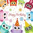 Backgrounds,Vector,Multi Colored,Child,Characters,Cheerful,Fun,Invitation,Kitten,owlet,Domestic Cat,Birthday,Congratulating,Young Animal