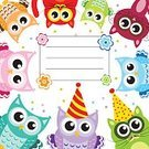 Child,Characters,Happiness,Cheerful,Animal,Birthday,Bird,Domestic Cat,Owl,Backgrounds,Fun,Postcard,Congratulating,Illustration,Inviting,Young Animal,Kitten,Vector,Invitation,Owlet,Background,Multi Colored